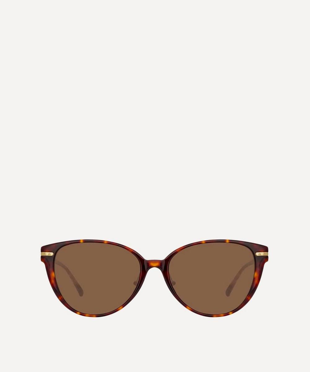 Linda Farrow Linear Arch Cat-Eye Sunglasses In Beige