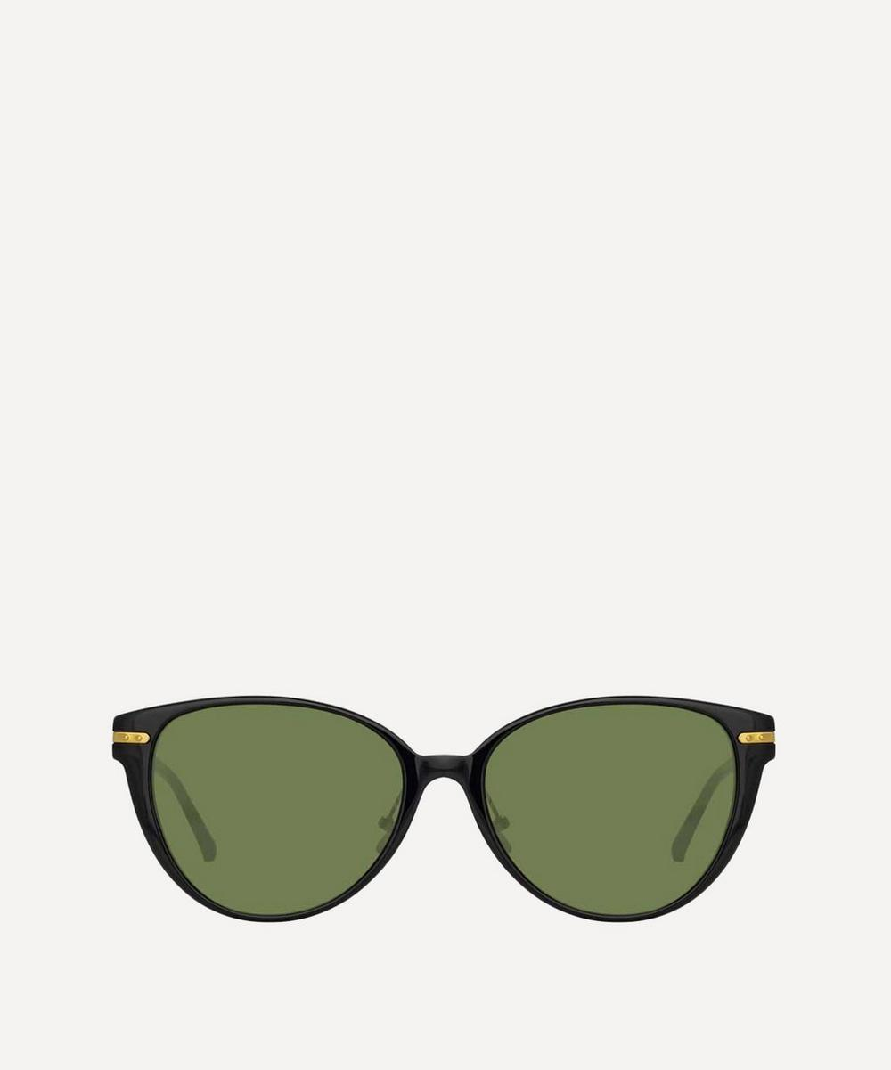 Linda Farrow Linear Arch Cat-Eye Sunglasses In Black