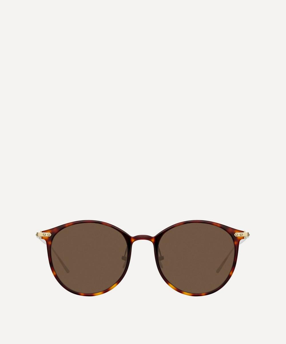 Linda Farrow Linear Gray Oval Sunglasses In Beige