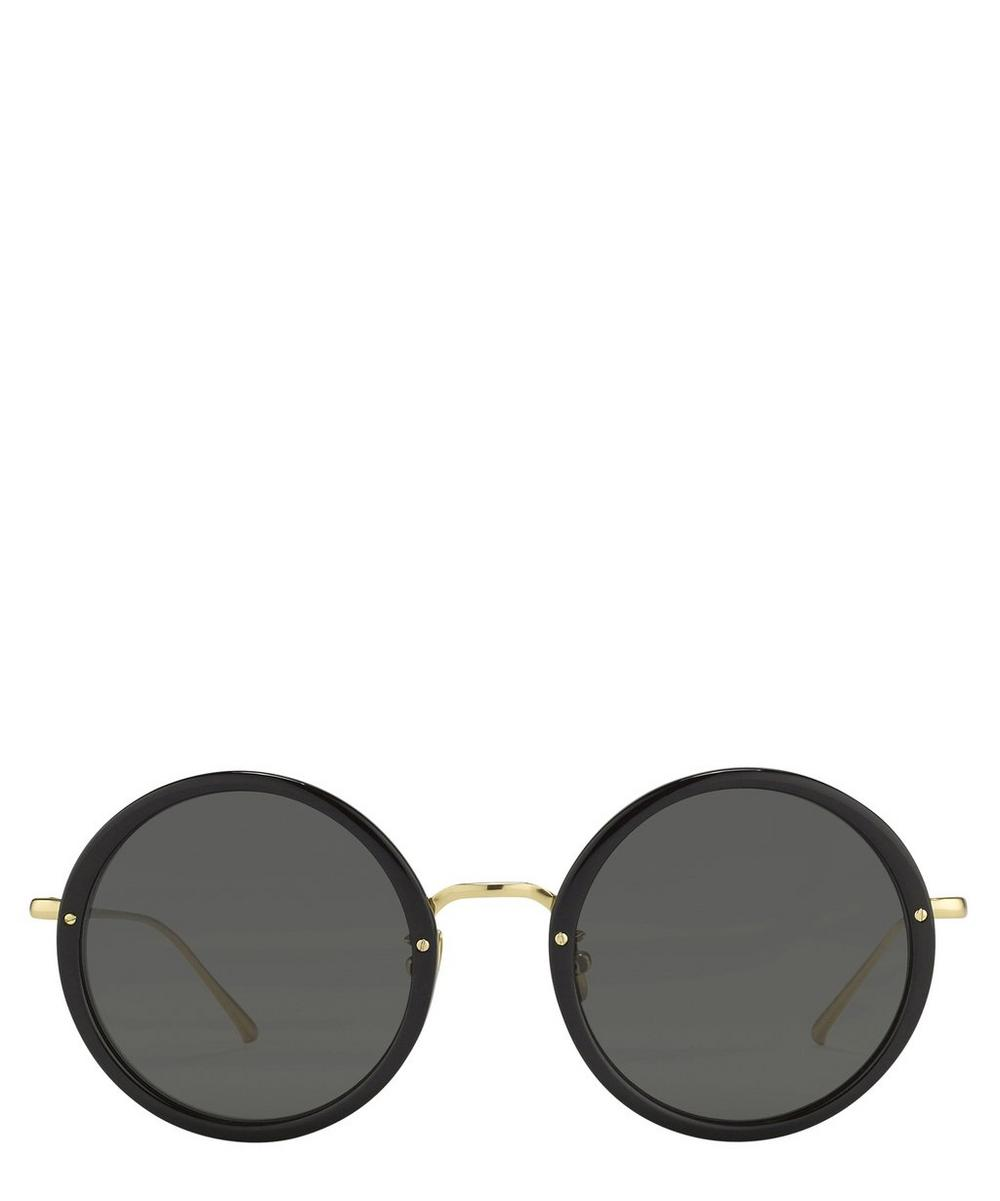 Linda Farrow Tracy Round Sunglasses In Black