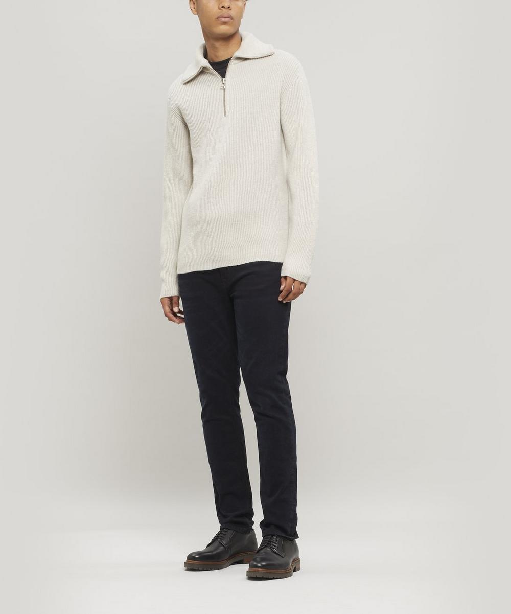 Ribbed Wool Half-Zip Sweater
