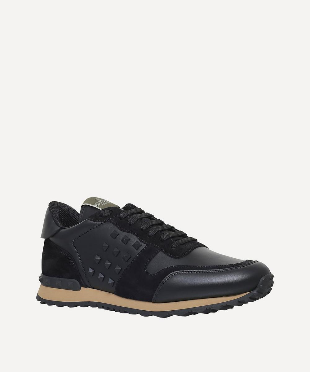 Rockstud Leather and Suede Sneakers
