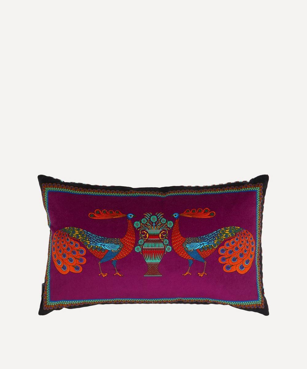 Liberty - Peacock Garden Rectangular Velvet Cushion