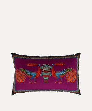 Peacock Garden Rectangular Velvet Cushion