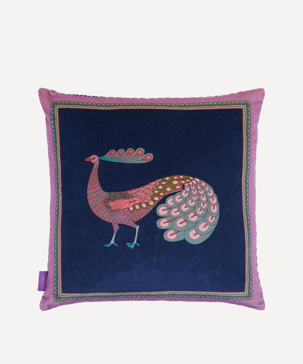 Peacock Garden Square Velvet Cushion