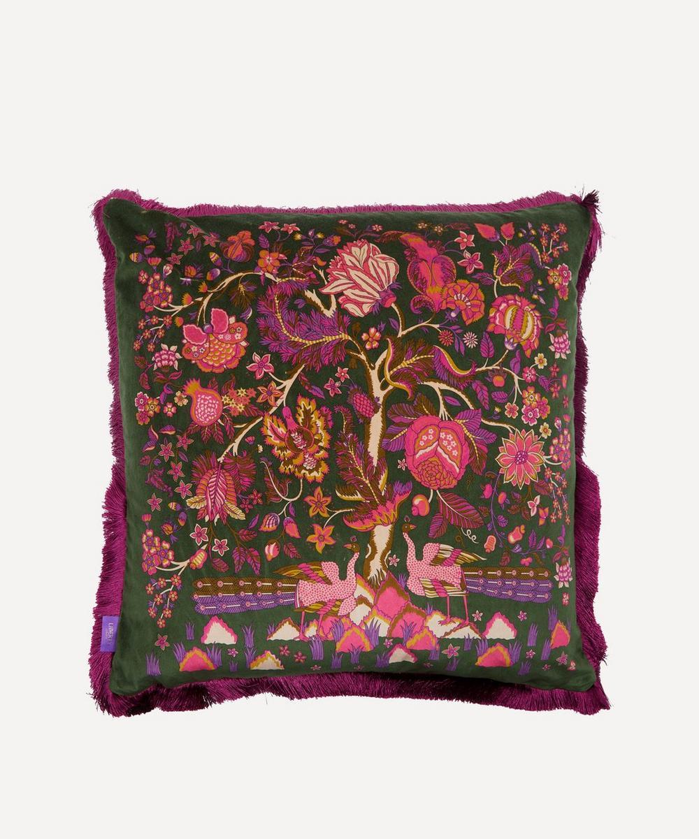Liberty - Tree of Life Square Fringed Velvet Cushion