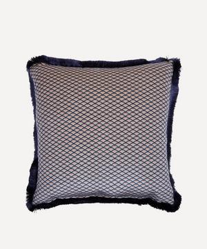 Tree of Life Square Fringed Velvet Cushion