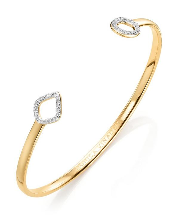 Gold Vermeil Riva Large Mini Kite and Mini Circle Diamond Cuff Bracelet