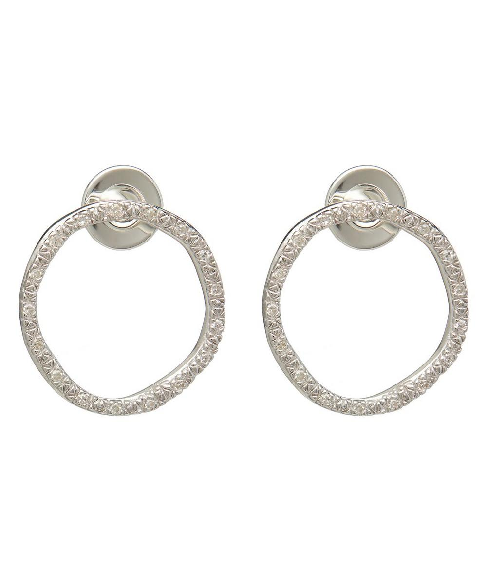 Monica Vinader Accessories SILVER RIVA LARGE DIAMOND CIRCLE STUD EARRINGS