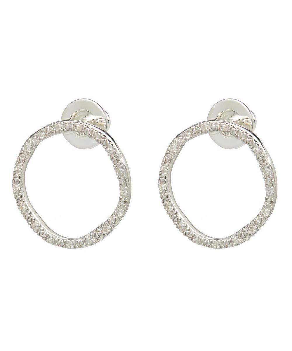 Silver Riva Large Diamond Circle Stud Earrings