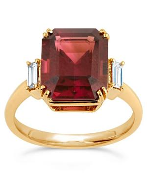Gold Mae West Red Tourmaline and Diamond Ring