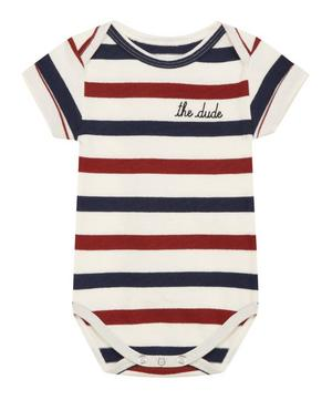 Short Sleeve Striped The Dude Bodysuit 0-24 Months