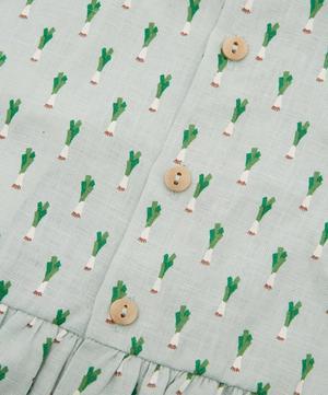 Short-Sleeved Leek Print Dress 4-8 Years