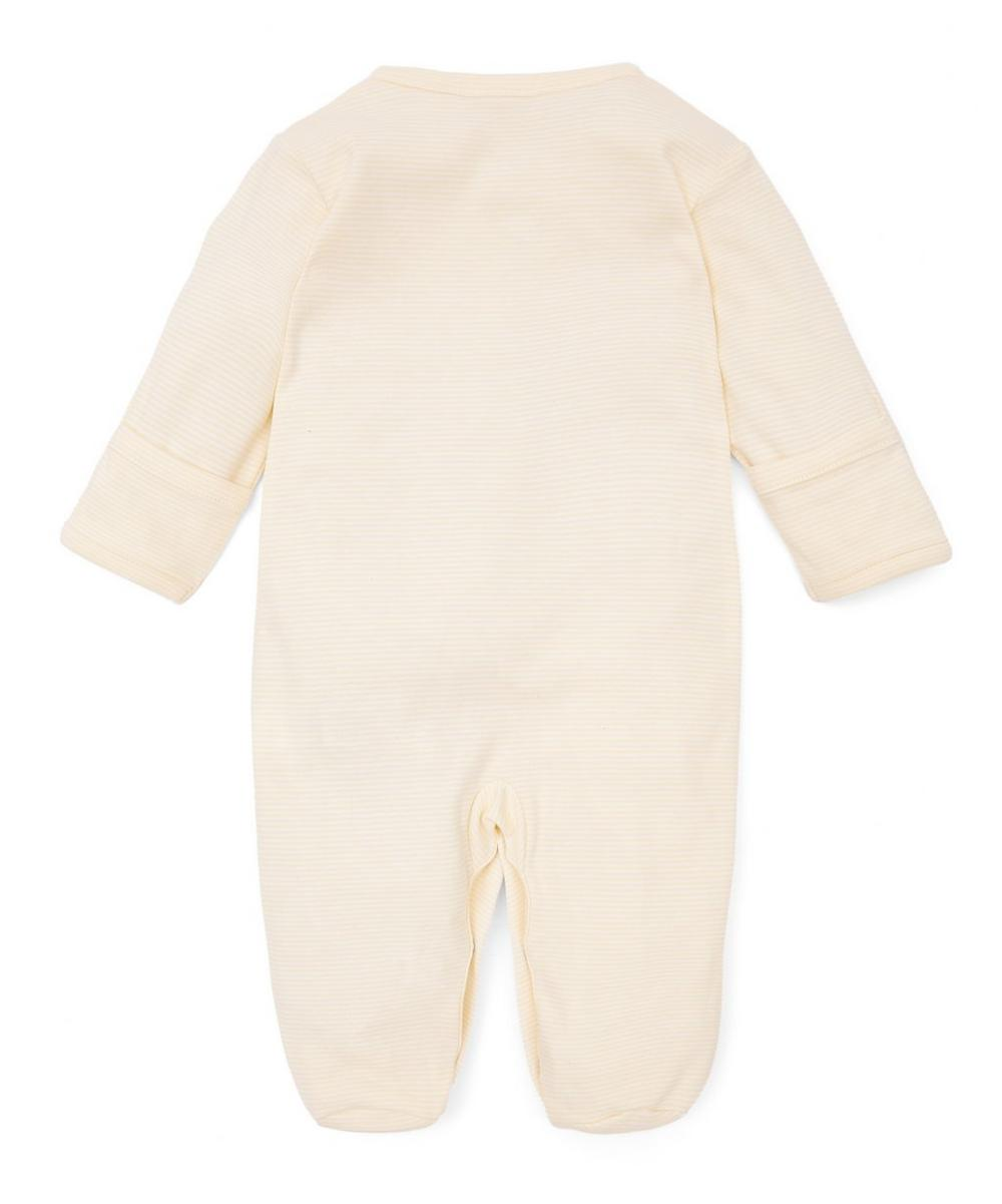 Duckies Hand-Embroidered Striped Footie 0-6 Months