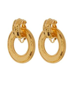 1990s Chanel Gilt Hammered Disc Clip-On Earrings