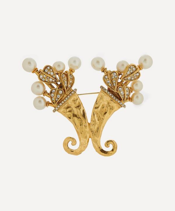 Designer Vintage - 1980s Chanel Faux Pearl and Diamond Cornucopia Brooch