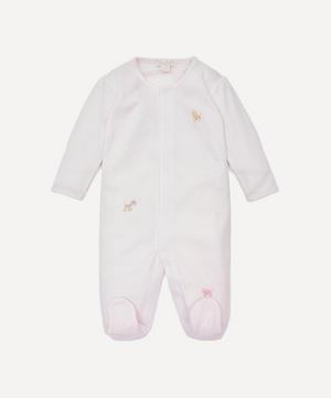 SCE Jungle Fun Hand-Embroidered Striped Footie 0-12 Months