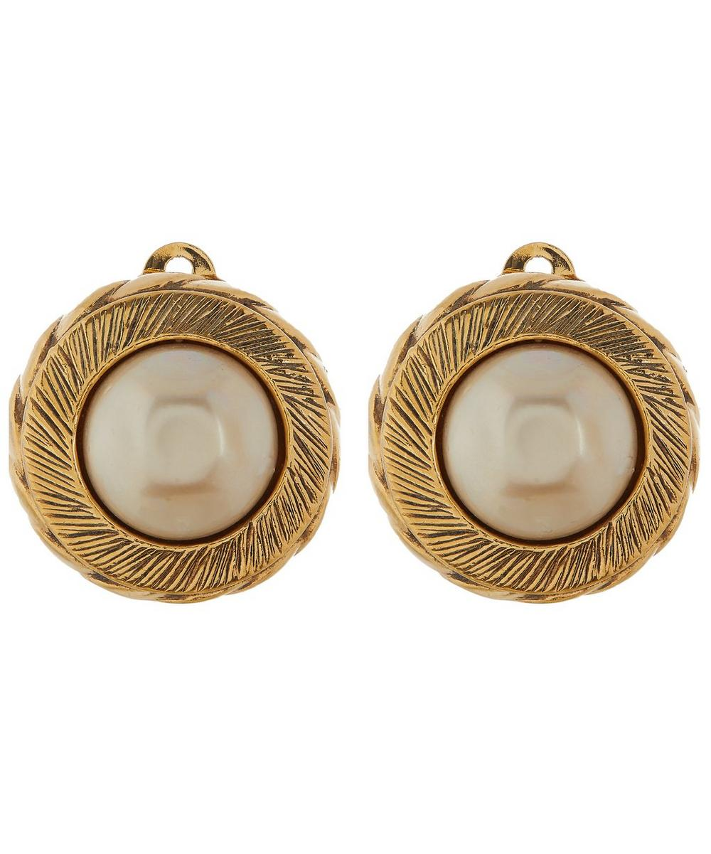 1747a80c 1990s Chanel Gilt Faux Pearl Clip-On Earrings   Liberty London