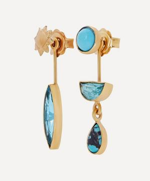 Gold-Plated Asymmetric Multi-Stone Detachable Drop Earrings