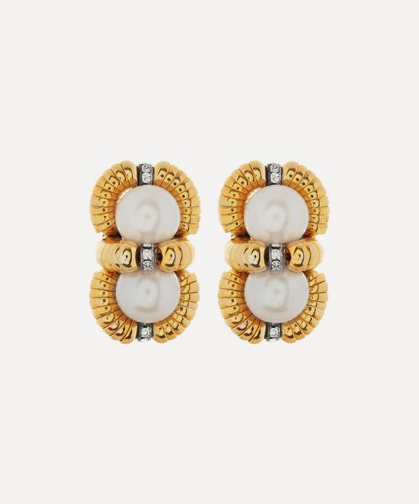 Designer Vintage - 1980s Gilt Faux Pearl and Diamond Clip-On Earrings