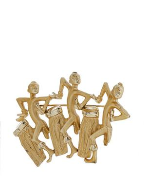 1980s Gilt Conga Players Brooch