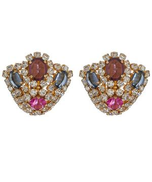 1960s Christian Dior Gilt Faux Gemstone Clip-On Earrings
