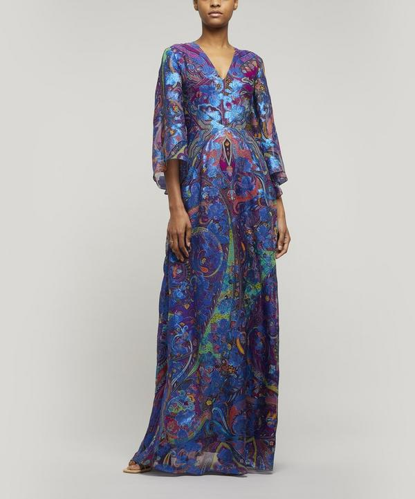 Metallic Paisley Silk-Blend Maxi-Dress