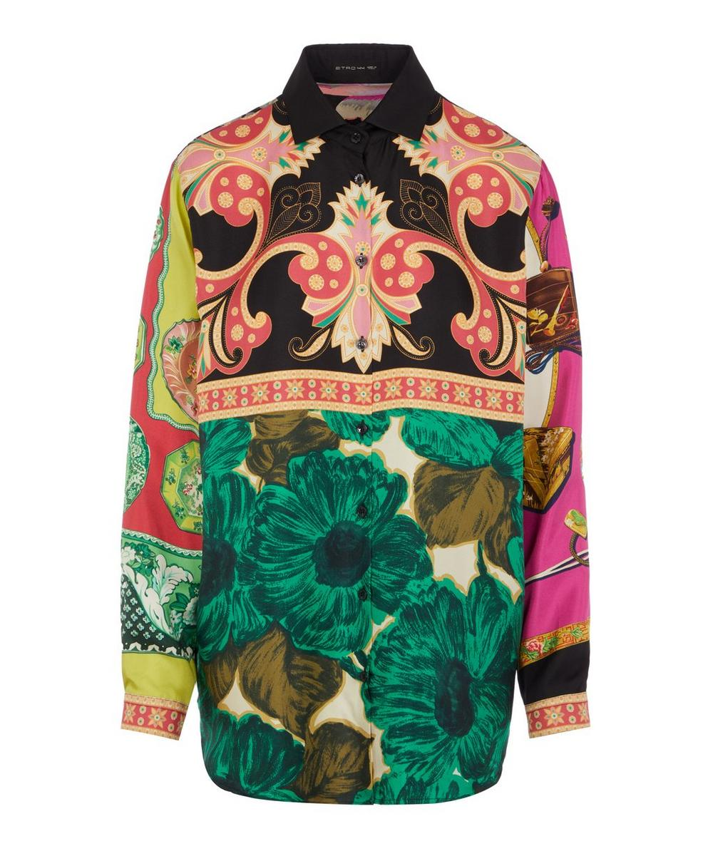 Etro Floral-patchwork-print Brushed Silk Shirt In Green
