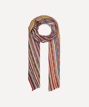 Striped Polka-Dot Cotton-Blend Scarf