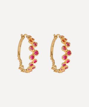 18ct Gold Hidden Reef Sapphire Hoop Earrings