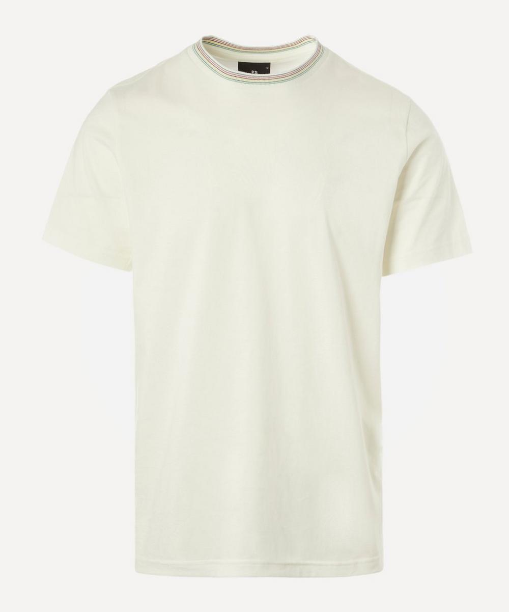 Multi-Stripe Neck Cotton T-Shirt