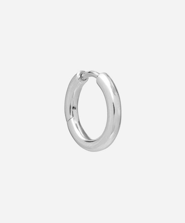 Maria Black - White Rhodium-Plated Polo Single Huggie Hoop Earring