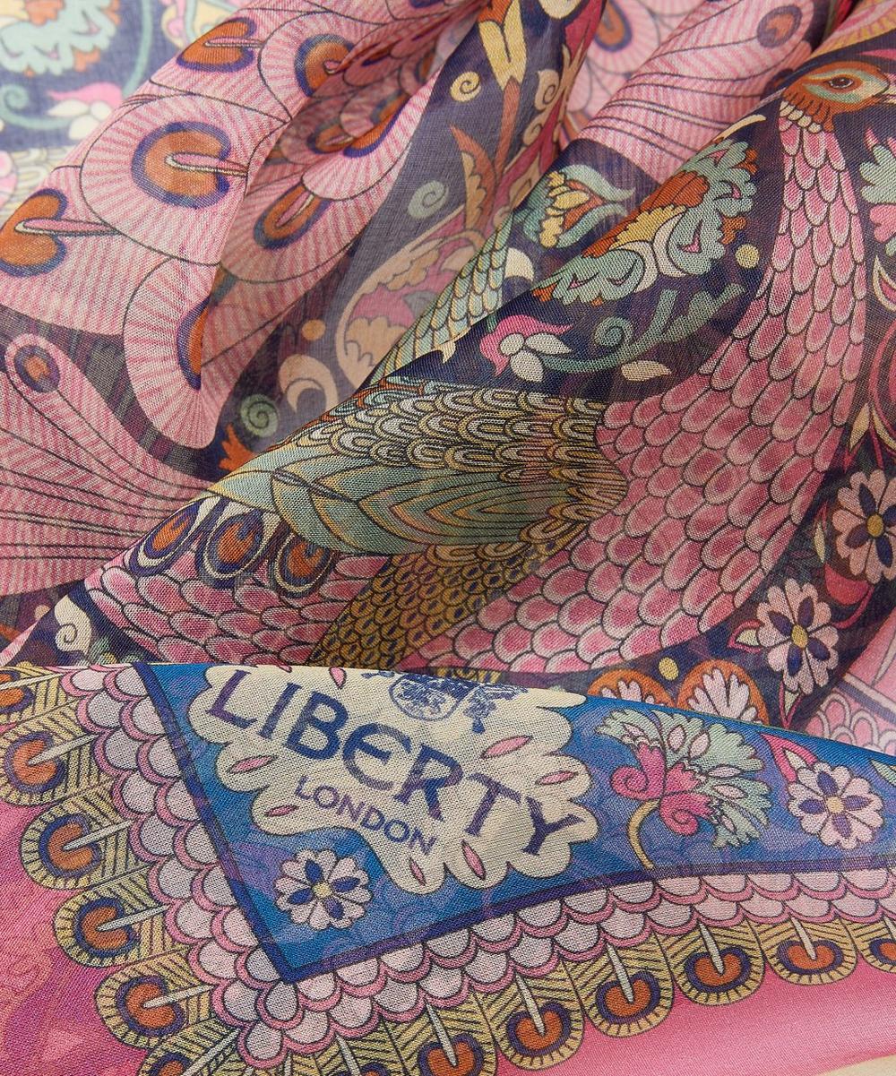 Peacock Garden 70 x 180cm Silk Chiffon Scarf