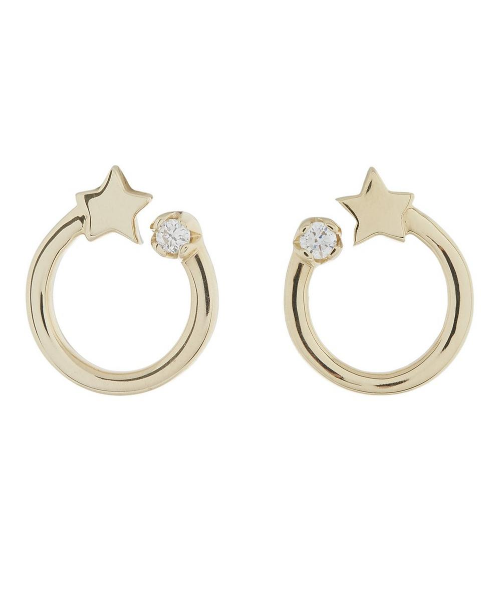 Gold Shooting Star Circle Stud Earrings