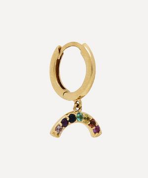 Gold Rainbow Gemstone Hoop Earring