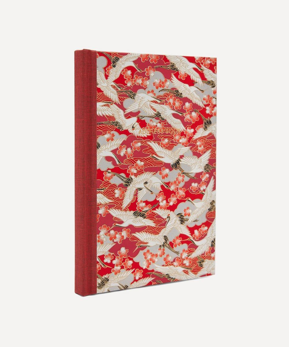 Red Blossom Cranes Desk Address Book