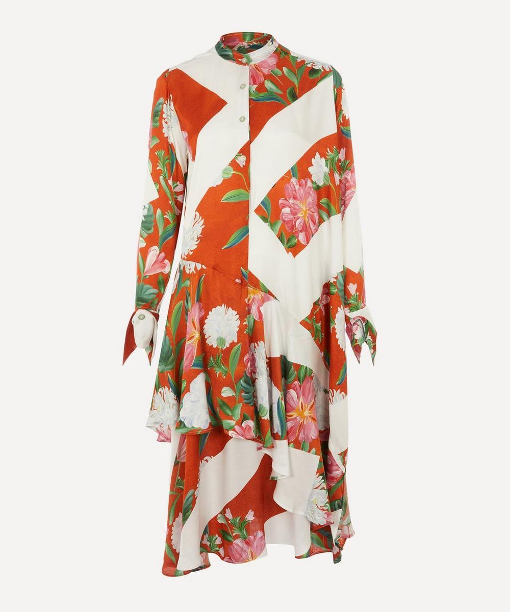 Spicy Asymmetric Floral Shirt-Dress