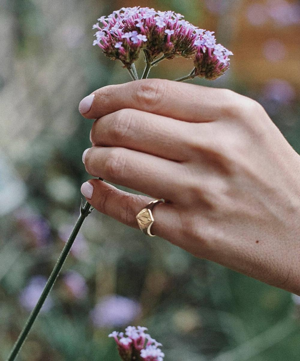 10ct Gold Lotus Signet Pinky Ring