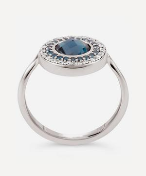 White Gold Double Halo Blue Topaz and Diamond Pinky Ring