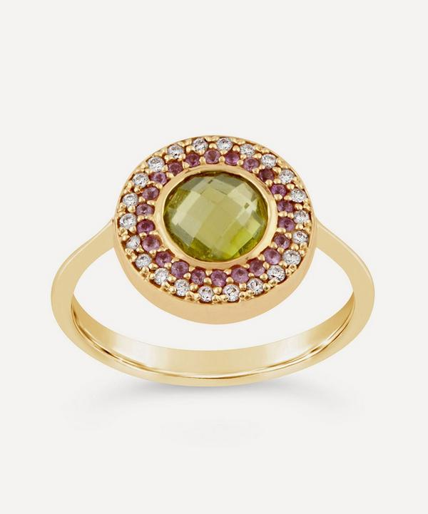 Dinny Hall - 14ct Gold Double Halo Multi-Stone Pinky Ring