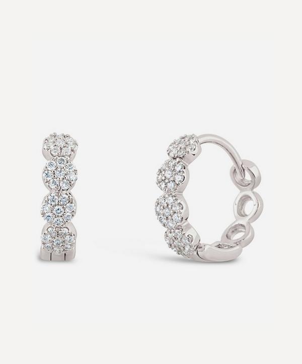 Dinny Hall - 14ct White Gold Shuga Pavé Diamond Huggie Hoop Earrings