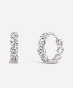 14ct White Gold Shuga Pavé Diamond Huggie Hoop Earrings