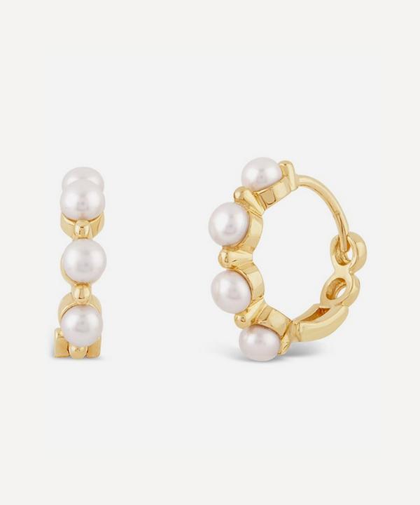 Dinny Hall - 14ct Gold Shuga Pearl Huggie Hoop Earrings