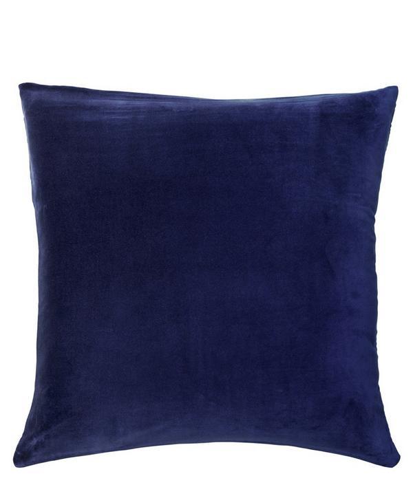 Navy Square Velvet Pillowcase