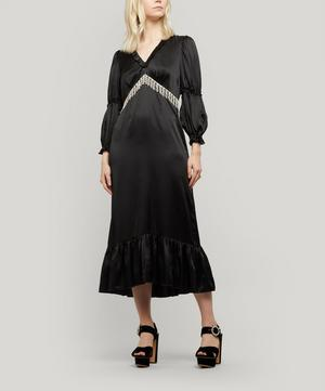 Rosemary Crystal-Fringe Satin Midi Dress