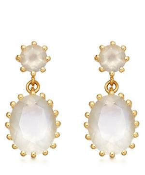 Gold Plated Vermeil Silver Linia Rainbow Moonstone Drop Earrings