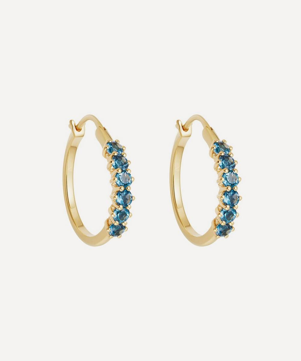 Gold Vermeil Linia London Blue Topaz Hoop Earrings