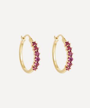 Gold Vermeil Linia Rhodolite Hoop Earrings