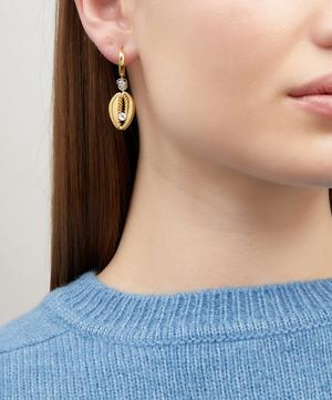 Gold-Plated Just A Friend Crystal Shell Hoop Earring