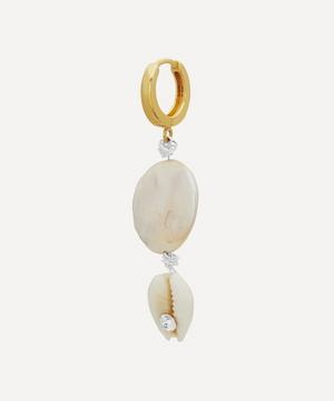 Gold Creep Pearl and Crystal Shell Hoop Earring